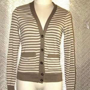 Poof Made With Love Striped Button-Up Sweater Sz S